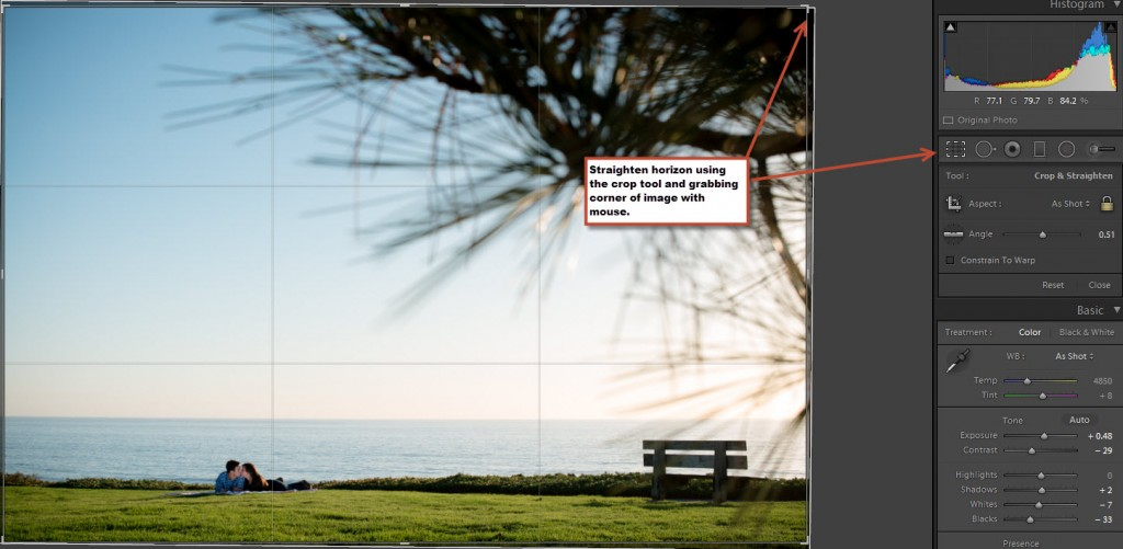 How to straighten horizon using crop tool in lightroom 5