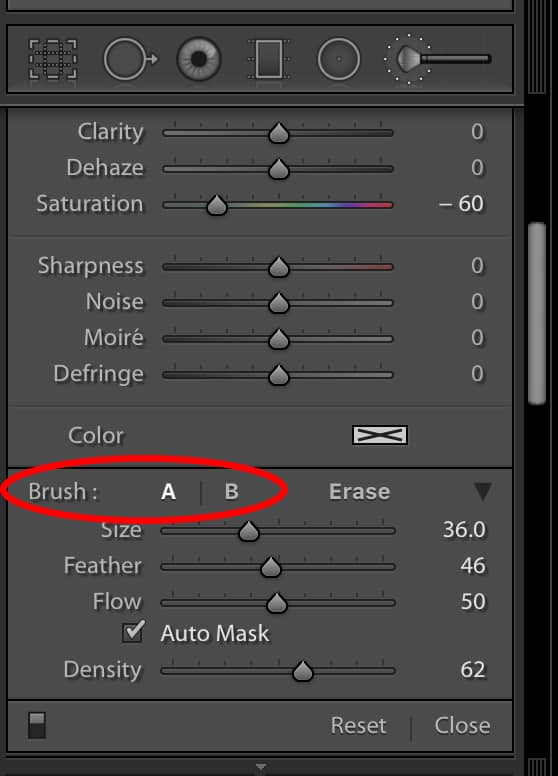 how to change the brush in lightroom