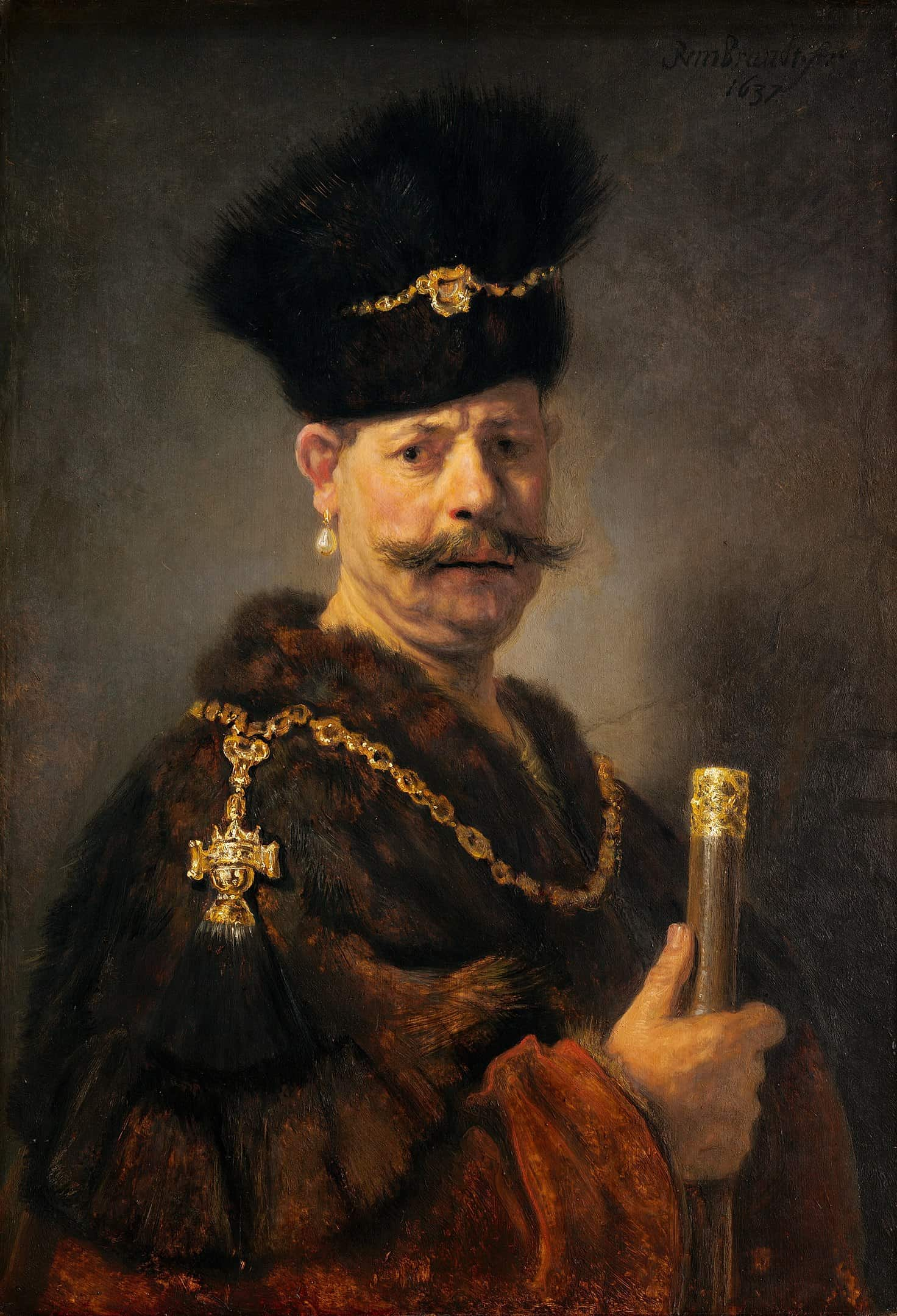 Rembrandt lighting in his portraits
