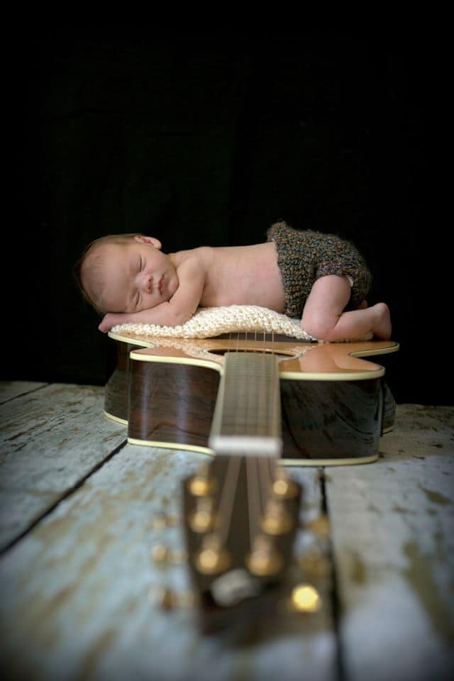 Family heirlooms as newborn photography props