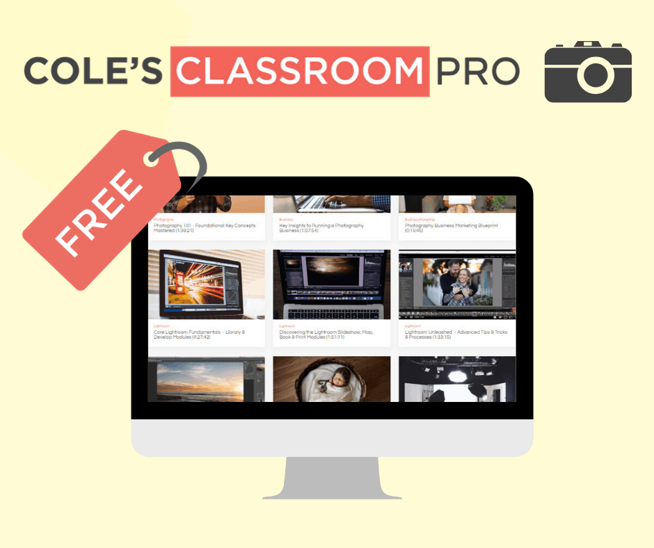 Cole's Classroom Pro is Free thru 4/8/20 For All Photographers to Bring Positivity During COVID-19 Quarantine
