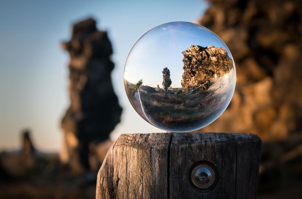 crystal ball showing rock formation