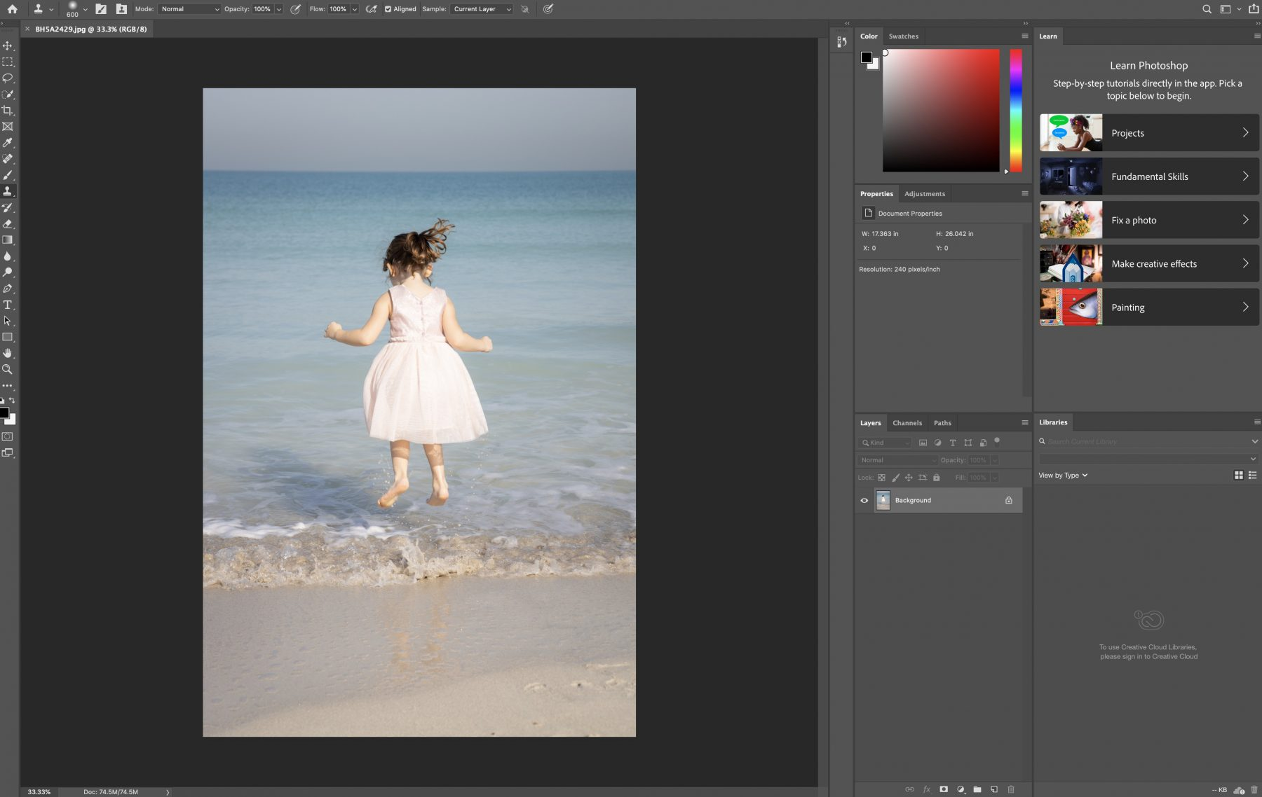 girl jumping in water in photoshop