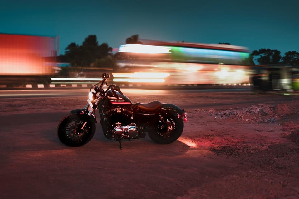 panning photo of motorcycle