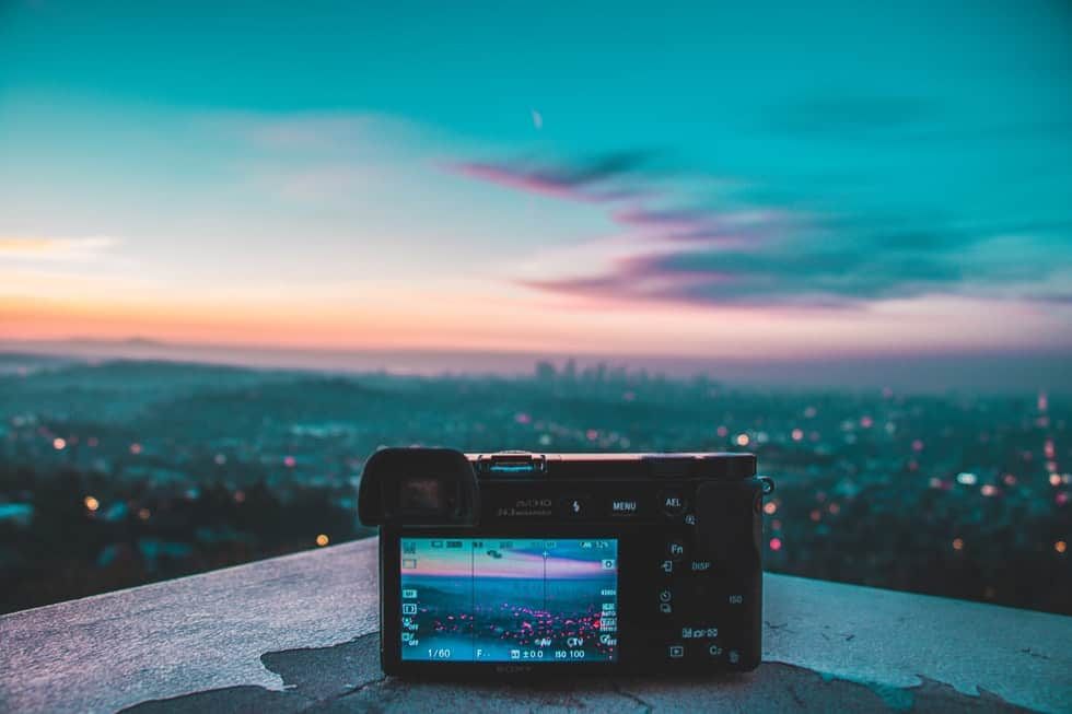 camera in front of blue sunset