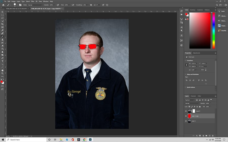 Use a third, colored layer between to check