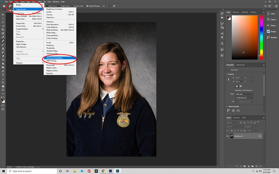 Reduce Glare in Photoshp using the shadows and highlights slider