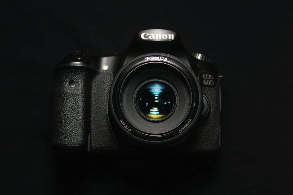 canon camera on black background