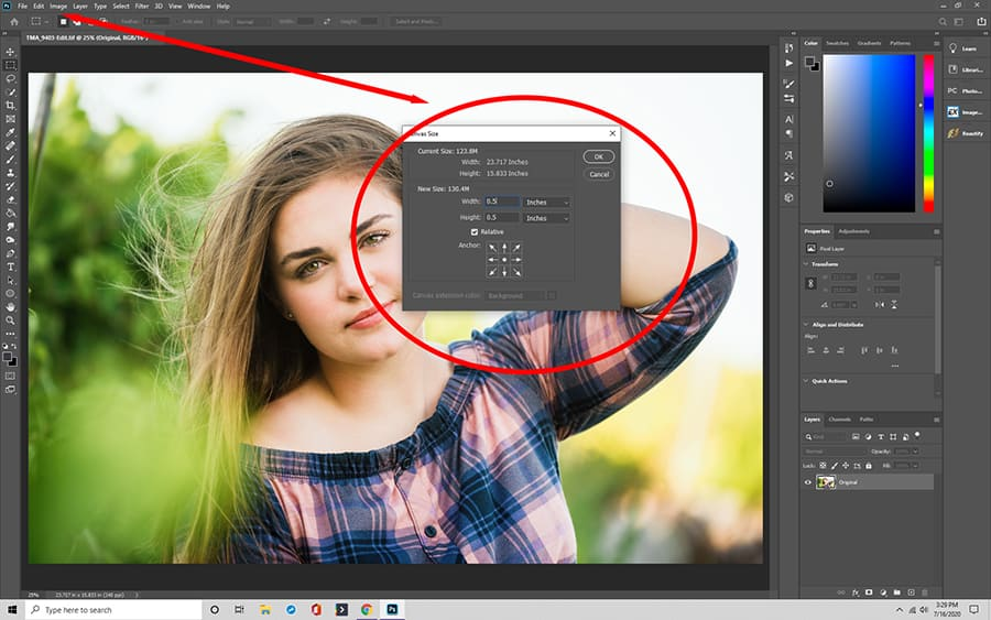 Fill out the canvas size dialog box in Photoshop
