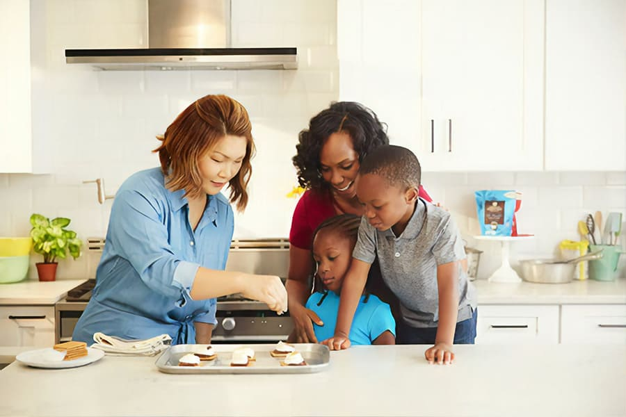 Cooking or baking during family portraits